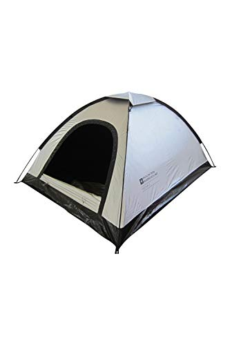 Mountain Warehouse Blackout Festival 2 Man Tent- Water Resistant, Lightweight, Groundsheet. Great for Camping & Travelling Silver