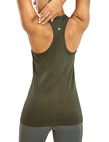 CRZ YOGA - Camiseta Espalda Nadadora Deportiva Mujer sin Mangas Dark Olive 38