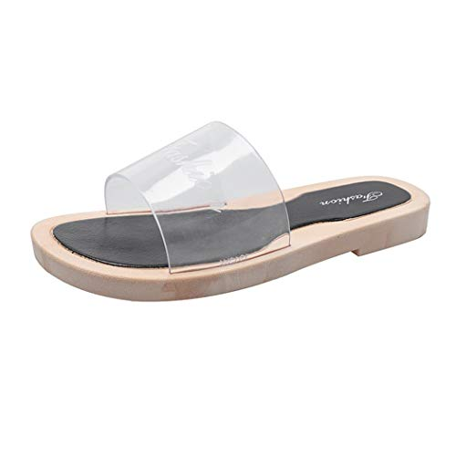 CixNy Schuhe Bequeme Damen Pumps, Transparent Wort Mit Flachen Slippers Außerhalb Tragen Strand Sandalen Clogs Sommerschuhe