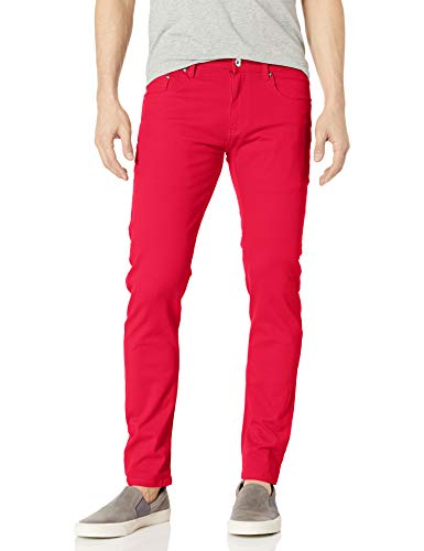 WT02 Men's Basic Color Twill Stretch Span Pants, Red(New), 34X30
