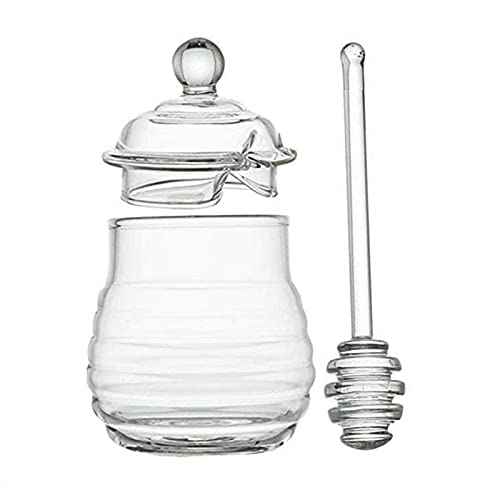 AIRUYI Tarro de Miel con cazo y Tapa de Vidrio Miel de Miel para Cocina Cocina Jarra de Vidrio de Vidrio Creativo de Vidrio Juego de Mermelada Transparente Juego de Jarra con cazo y Tapa