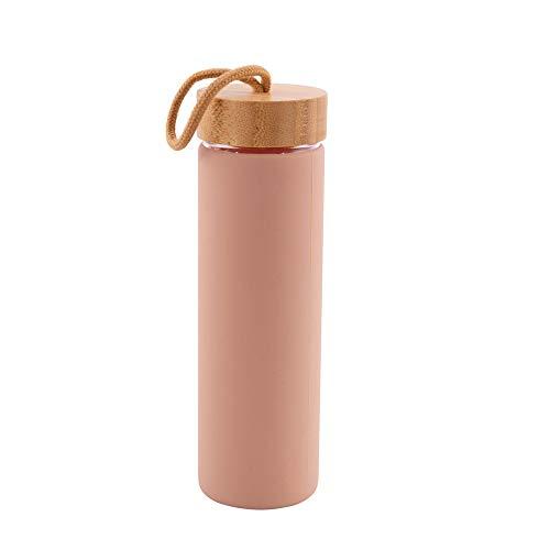 Point-Virgule Botella de cristal borosilicato con tapa de bambú a prueba de fugas y correa de transporte, botella de agua reutilizable para viajes, 600 ml, polvo rosa