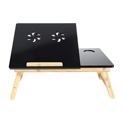 Mind Reader Coolpad Flip Top Ajustable, Escritorio para portátil, Bandeja de Cama, Color Negro