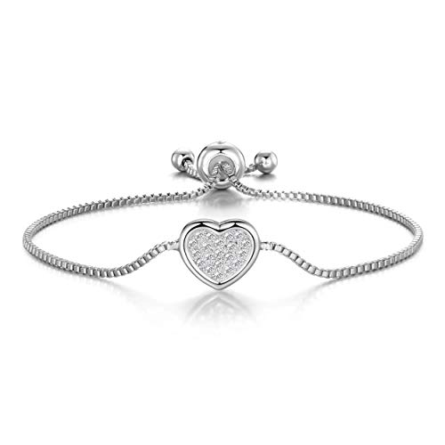 Philip Jones Silver Pave Heart Friendship Bracelet Created with Austrian Crystals