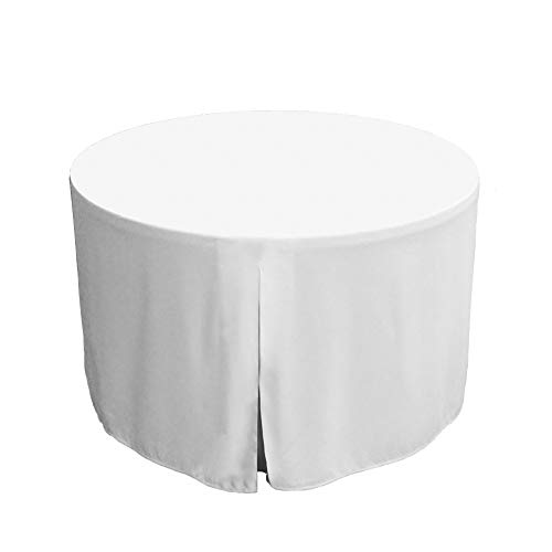 """Tablevogue Event Linens Washable Microfiber 48"""" Inch Fitted Tablecloth Cover for Round Buffet Table, Parties, Holiday Dinner & More, White"""