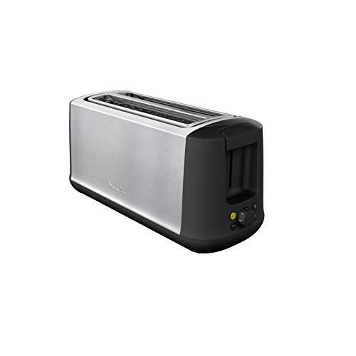 Moulinex Subito Select LS342D Tostadora, dos ranuras largas, 7 niveles de tostado, descongela y recalienta, función ECO, exterior acero inoxidable, bandeja recogemigas extraíble, palanca elevadora