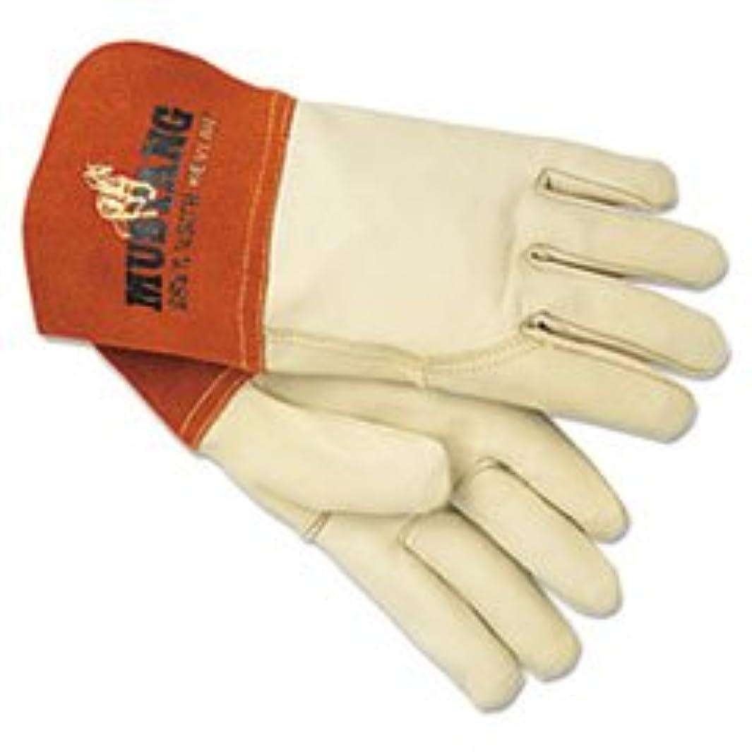 縞模様のワーカーコイル* * Mustangミグ/ティグ溶接手袋、レザーホワイト/ラセット、L