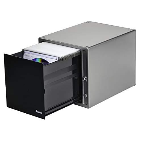 Hama CD/DVD/Blu-ray Magic Touch Aufbewahrungsbox (für 80 CDs, Hängeregister inklusive Sleeves, mit integriertem Touch Release) silber