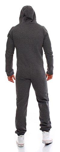 Gennadi Hoppe Herren Jumpsuit Onesie Jogger Einteiler Overall Jogging Anzug Trainingsanzug Slim Fit,grau,X-Large - 2