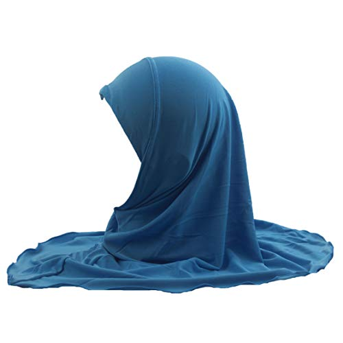 Modest Beauty Girls Hijab Muslim Kids Scarf Headwear Solid Color for 7-12 Years Ready to Wear