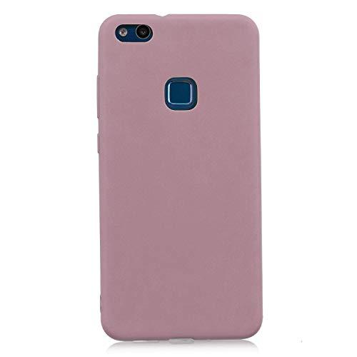 cuzz Funda para Huawei P10 Lite+{Protector de Pantalla de Vidrio Templado} Carcasa Silicona Suave Gel Rasguño y Resistente Teléfono Móvil Cover-Rosa