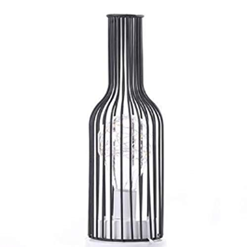 KJHJ Creative Hierro Minimalista Hollow Mese Lámparas Cálidas Luz Vintage Alambre de Cobre Linterna Dormitorio Escritorio de la Cama Luz para la decoración del hogar 309 (Size : Wine Bottle)