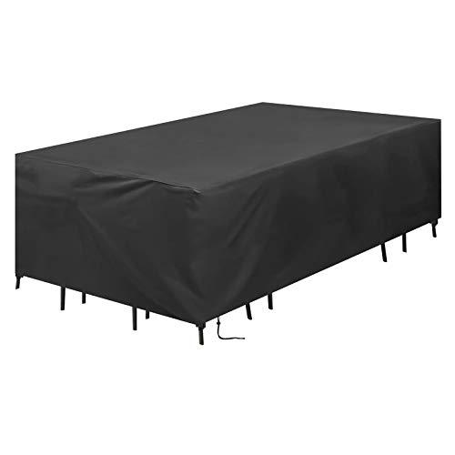 SOSPIRO Funda protectora para muebles de jardín, impermeable, resistente al viento, resistente a los rayos UV, 420D Oxford para mesa de jardín (200 x 160 x 70 cm)