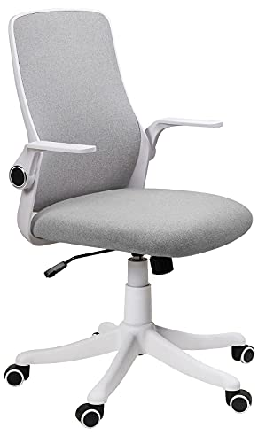 Fullwatt Office Chair Fabric Desk Chair Flip-up Armrest Ergonomic Task Chair Compact 30° Rocking 360° Rotation Seat Surface Lift Reinforced Nylon Resin Base (Grey and white)