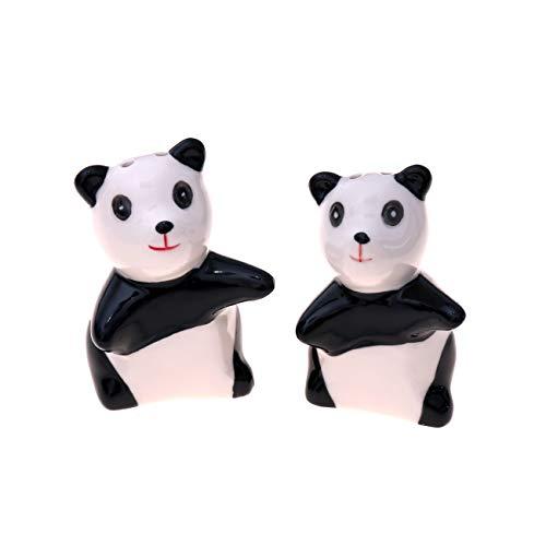 Flanacom Divertido salero y pimentero de porcelana – Discreto salero dispensador de especias, regalo de inauguración regalo de boda regalo de cumpleaños para parejas, Osos Panda