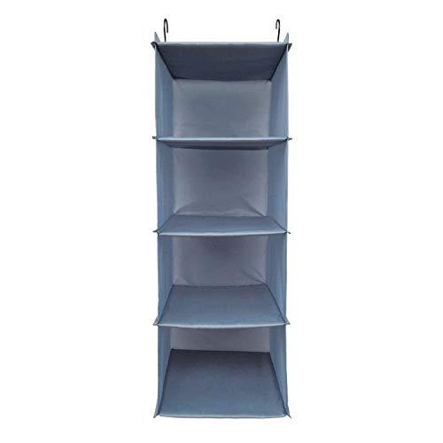 BrilliantJo Kleiderschrank Organizer, 4 Fächer hochwertige Hänge Schrankorganizer mit Eisengestell Hängeregal Organizer Aufbewahrungssystem Set Blau-grau