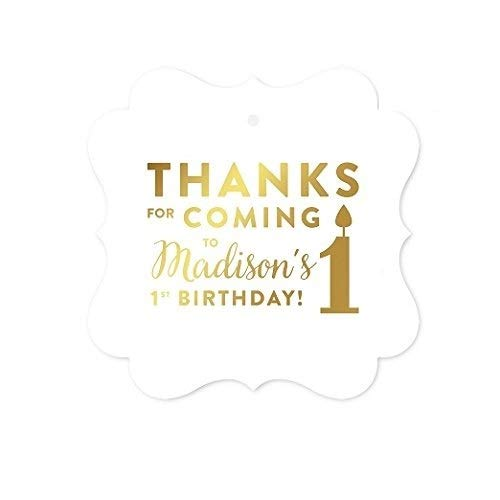 Andaz Press Personalized Fancy Frame Square Birthday Gift Tags, Metallic Gold Ink, Thanks for Coming to My 1st Birthday, 24-Pack, Custom Made Name