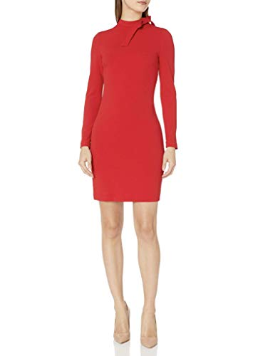 Calvin Klein Women's Long Sleeve Dress with Tie Neck Detail, RED, 6