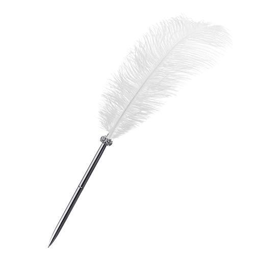Rgontar Feather Pen Black Ink Ballpoint Pen Wedding Signing Pen for Wedding Bridal(White)