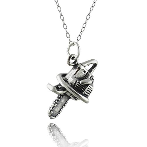FashionJunkie4Life Sterling Silver 3 Dimensional Chainsaw Charm Necklace, 18