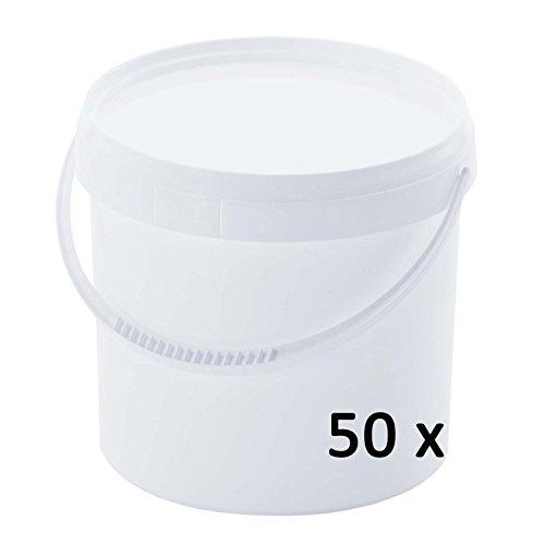 50 x 5 L Eimer mit Deckel WEISS Kunststoffeimer Deckel Henkel Lebensmittelecht