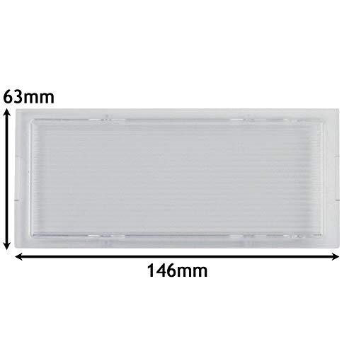 SPARES2GO Lamp Diffuser Cover voor Neff D86E21N1GB/02 afzuigkap/afzuigkap Ventilator (146 x 63 mm)