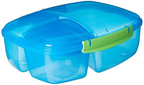 Sistema Lunch Triple Split Lunchbox mit Joghurttopf - 2 L, L:24,5 x W20 x H 9,2 cm,Blau
