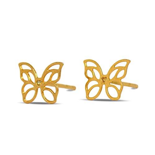 Blue Diamond Club - 18ct Gold Filled Cute Butterfly Stud Earrings for Women, Girls, Kids 18K GF