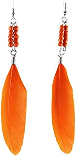 1set orange Feather beads elegant light cute new dangle earrings hot