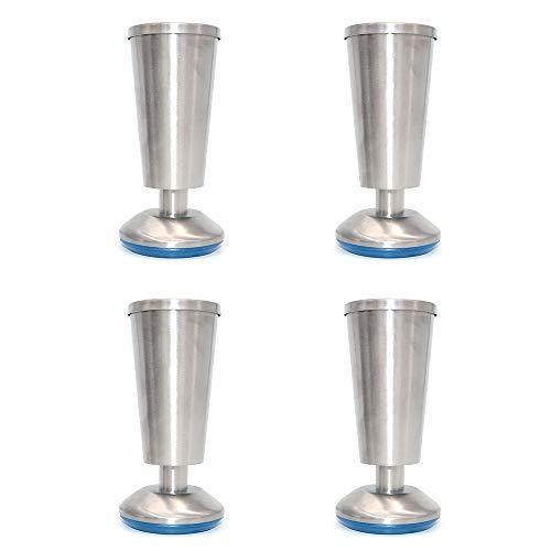 NUZAMAS - Set di 4 piedini per mobili da cucina, a forma di tazza, altezza 120 mm, unità per la colazione, tavolo da tavolo, gambe per mobili, in acciaio inox, altezza regolabile da 0 a 5 mm