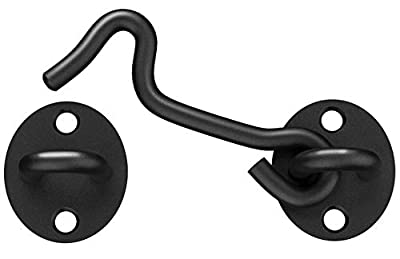 Barn Door Latch, 2 Pack 4'' Barn Door Lock Heavy Duty Solid Thicken Stainless Steel Gate Latch, Cabin Hooks and Eye Latch with Mounting Screws. Best for Window, Sliding Door, Bedroom. (Black)