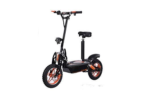 E-Scooter bis zu 40 km/h schnell - mit 30km Reichweite, 48V | 1500W | 12AH Akku, mit Sitz, Bremsen und Lichter -C002B