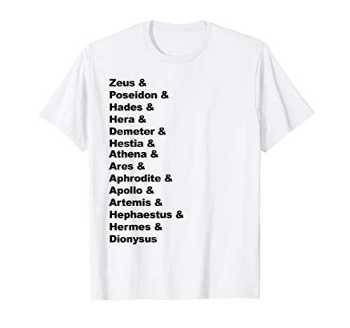 Greek Mythology Gods Pantheon List of Demigod Names T-Shirt