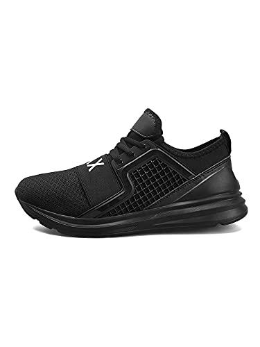 UKAP Zapatillas de deporte para hombre, informales, para caminar, correr, entrenar, transpirables, para hombre, Negro , 43 EU
