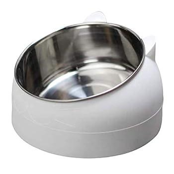 geneic Gamelle en acier inoxydable pour animal domestique - Gamelle à eau pour chat - Multifonction - Pour nourriture et eau - Blanc