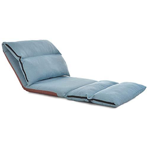 Sofá De Ocio Lazy Couch Reclinable Plegable Silla De Piso Portátil Acolchada Ajustable 5 Posiciones Suave Y Cómodo para Sala De Estar Balcón Carga Máxima 200 Kg (Rojo + Azul)
