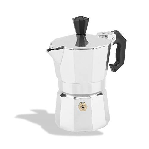 Lazmin112 Moka da 50 ml 1 Tazza, caffettiera Espresso in Alluminio Argento Moka Pot, per Uso Domestico e in Ufficio