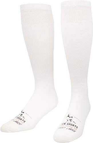 TCK Flat Knit Sanitary Liner Baseball Socks (Large, White)