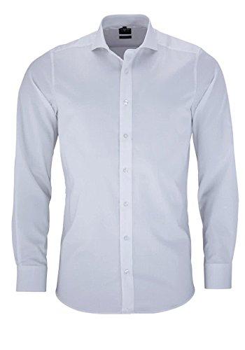 OLYMP OLYMP Level Five Body fit Hemd Langarm Twill Stretch weiß Größe 45