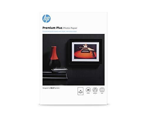 HP Premium Plus Photo Paper, CR673A, 20 hojas de papel fotográfico semibrillante avanzado, compatible con impresoras de inyección de tinta, A4, peso del material de impresión 300 g/m²