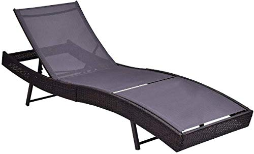 OAKVILLE FURNITURE 61706 Outdoor Patio Rattan Wicker Adjustable Pool Chaise Lounge Chair, Brown