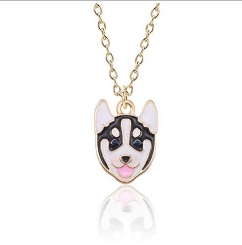 NCDFH Collar de Perro Mascota de Dibujos Animados para Mujeres Akita Husky Oso de Peluche Collares de Perro Colgantes joyería de Animales Collier Femme