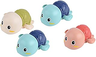 JVSISM Baby Bathtub Wind Up Turtle Toys Fun Multi Colors Swimming Bath Tub, Beach, Pool Playset for Boys and Girls Set of 4
