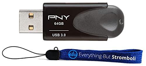 PNY 64GB Turbo Attaché 4 USB 3.0 Flash Drive kompatibel mit Laptop, Computer, Tablet (P-FD64GTBAT4-GE) B&le mit 1 Everything But Stromboli Lanyard