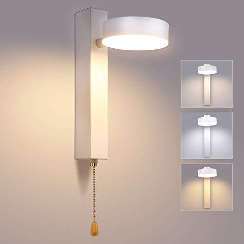 Lightess Apliques de Pared LED Regulable 3 Temperatura de Color 12W Lámpara de Pared Interior Moderno Libremente Giratorio 360°+180° Luz Interruptor Cremallera para Dormitorio, Cabecera, Blanco