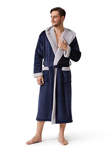DAVID ARCHY Men's Hooded Fleece Plush Soft Shu Velveteen Robe Full Length Long Bathrobe (M, Navy Blue)