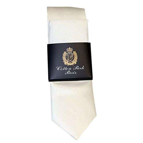 Cotton Park - Cravate polyester + pochette assortie blanches - Homme