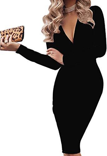 Vestido de Cóctel Mujer Ceremonia Midi Vestido de Noche con Mangas Largas Delgado con Cuello en V Bodycon Sexy Elegante (Negro, XL)