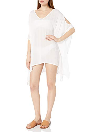 Kenneth Cole New York Women's Cold Shoulder Tunic Swimsuit Cover Up, White, XXS