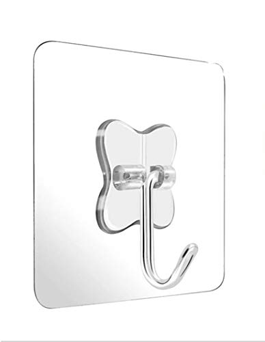 KK5 Seamless Adhesive Hooks 13.2lb(Max) Utility Stainless Steel Hook for Towel Bathrobe Coats,Bathroom Kitchen Waterproof and Oilproof Nail Free Transparent Heavy Duty Wall Hook & Ceiling Hanger